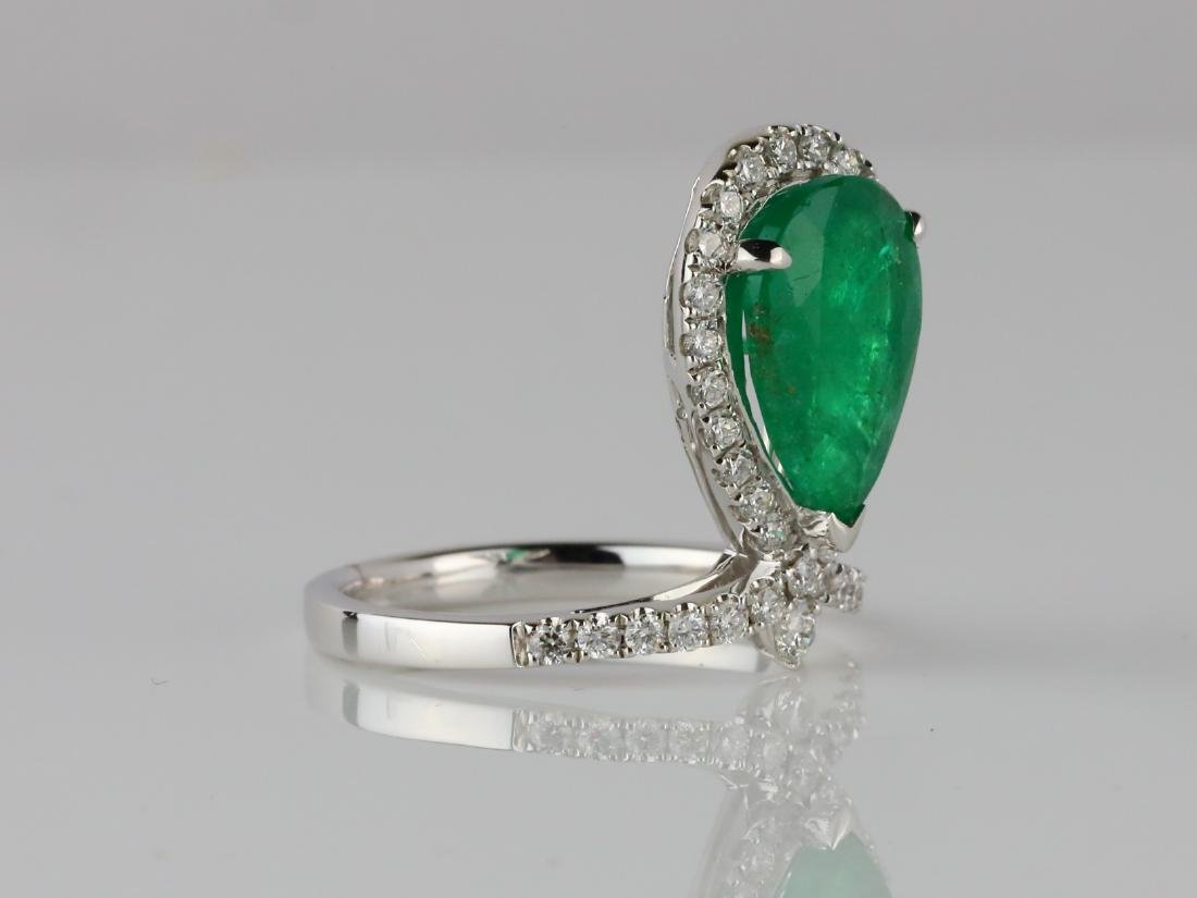 3ct Emerald, .60ctw SI1-SI2/G-H Diamond 14K Ring - 3