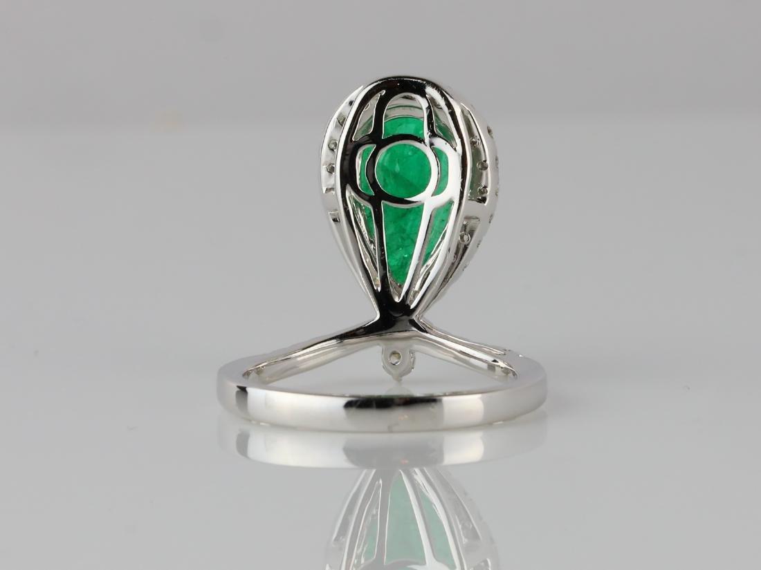 3ct Emerald, .60ctw SI1-SI2/G-H Diamond 14K Ring - 4