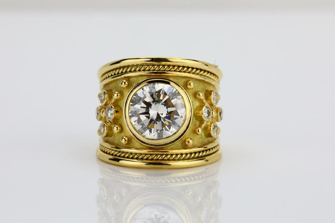 Elizabeth Gage 4.05ct Diamond 18K Yellow Gold Ring