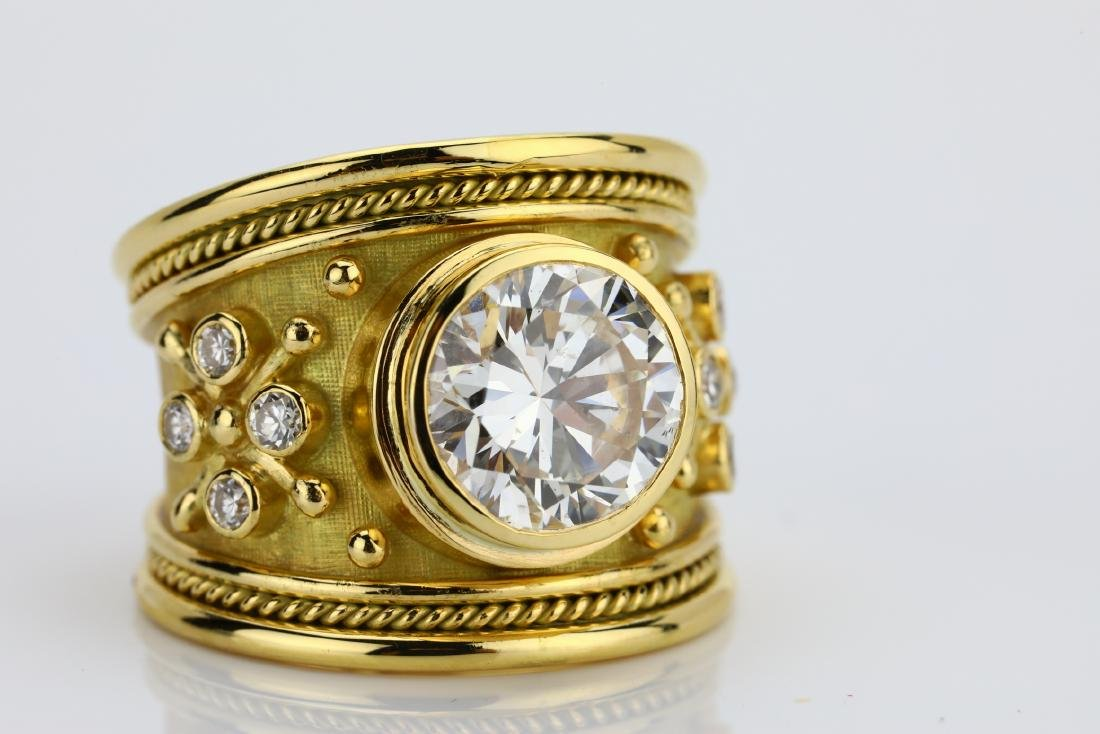 Elizabeth Gage 4.05ct Diamond 18K Yellow Gold Ring - 8