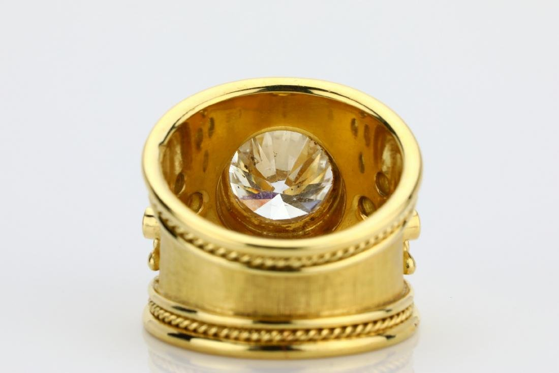 Elizabeth Gage 4.05ct Diamond 18K Yellow Gold Ring - 9