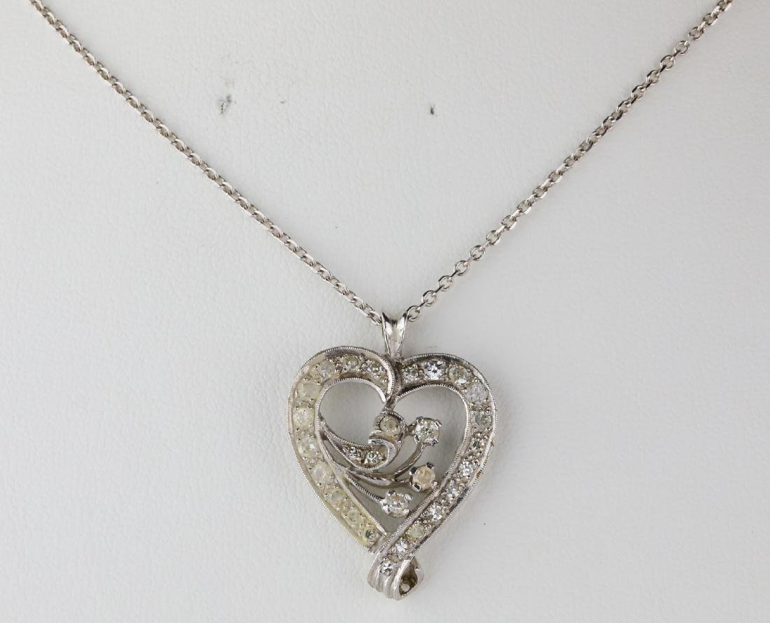 "1.10ctw SI2-I1/G-H Diamond 14K 24"" Heart Necklace"