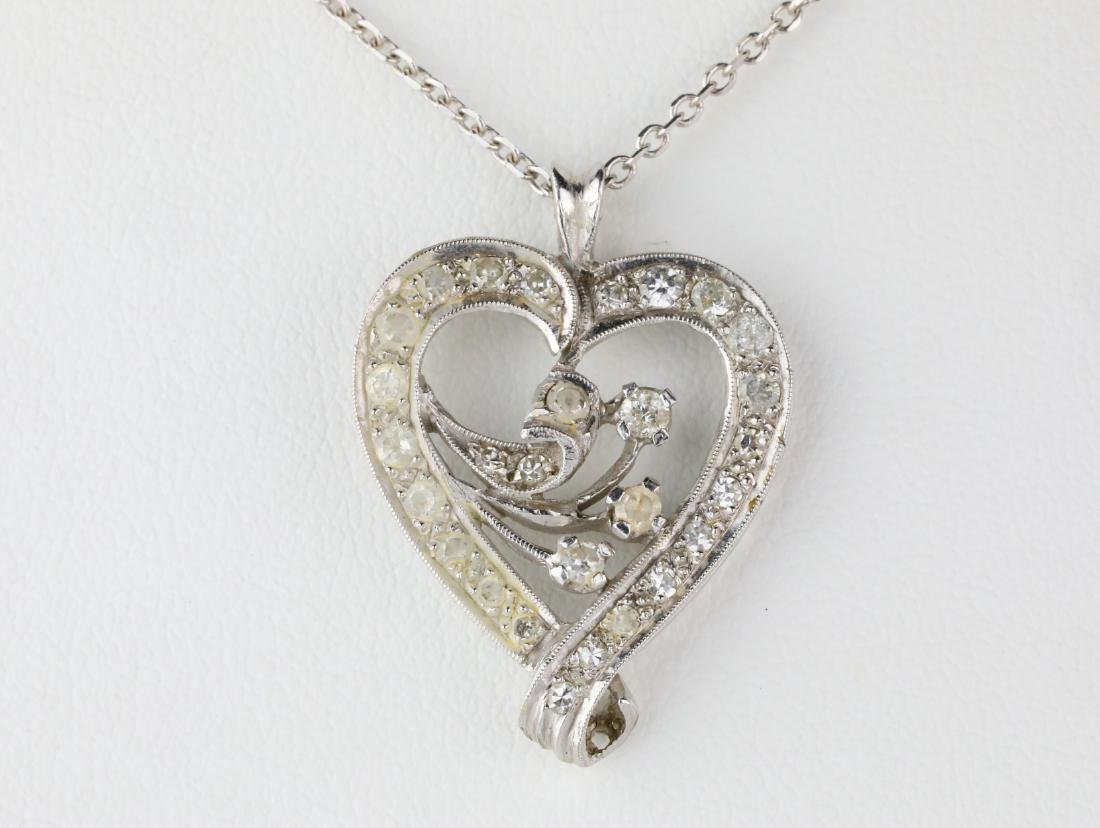 "1.10ctw SI2-I1/G-H Diamond 14K 24"" Heart Necklace - 2"
