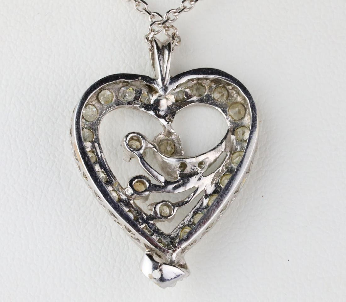 "1.10ctw SI2-I1/G-H Diamond 14K 24"" Heart Necklace - 3"