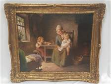 """F.G. Grust """"Mother & Children"""" Signed Painting"""