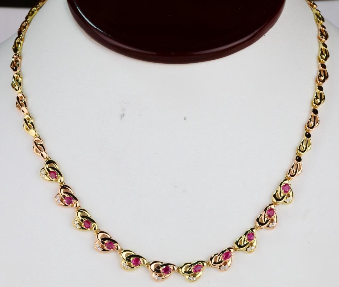 """1.00ctw Ruby & 18K 16"""" Necklace W/0.20ctw Diamonds"""