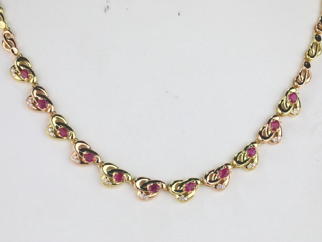 """1.00ctw Ruby & 18K 16"""" Necklace W/0.20ctw Diamonds - 2"""