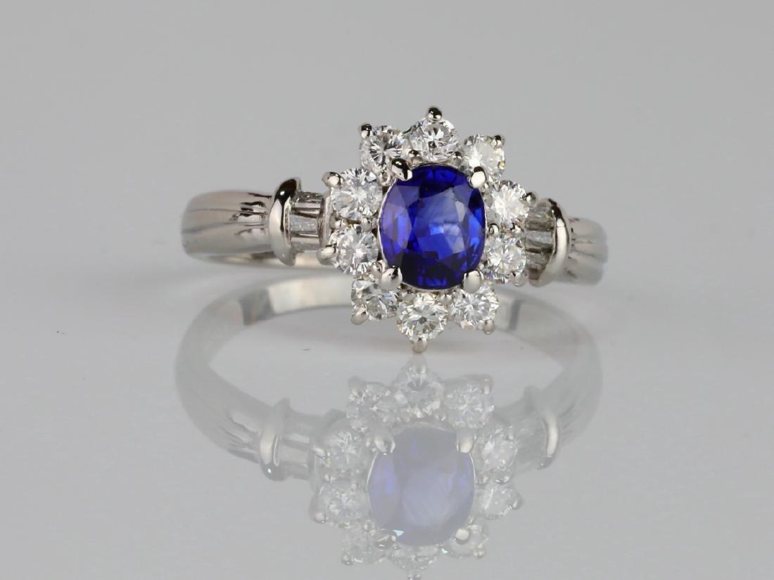1.45ctw Diamond & Blue Sapphire Platinum Ring