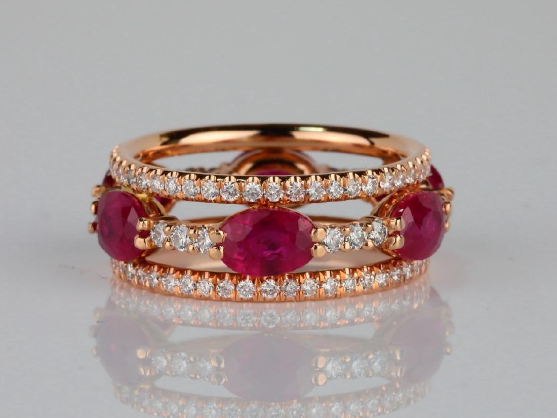 3ctw Ruby, 1.60ctw SI1-SI2/G-H Diamond 14K Ring