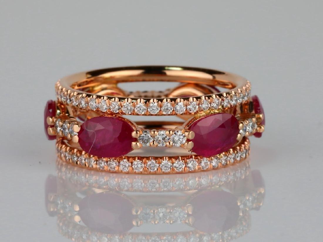 3ctw Ruby, 1.60ctw SI1-SI2/G-H Diamond 14K Ring - 2