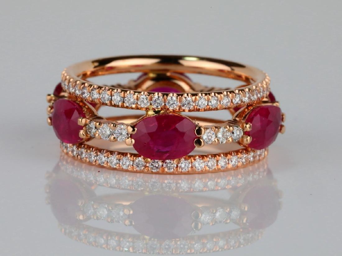 3ctw Ruby, 1.60ctw SI1-SI2/G-H Diamond 14K Ring - 3