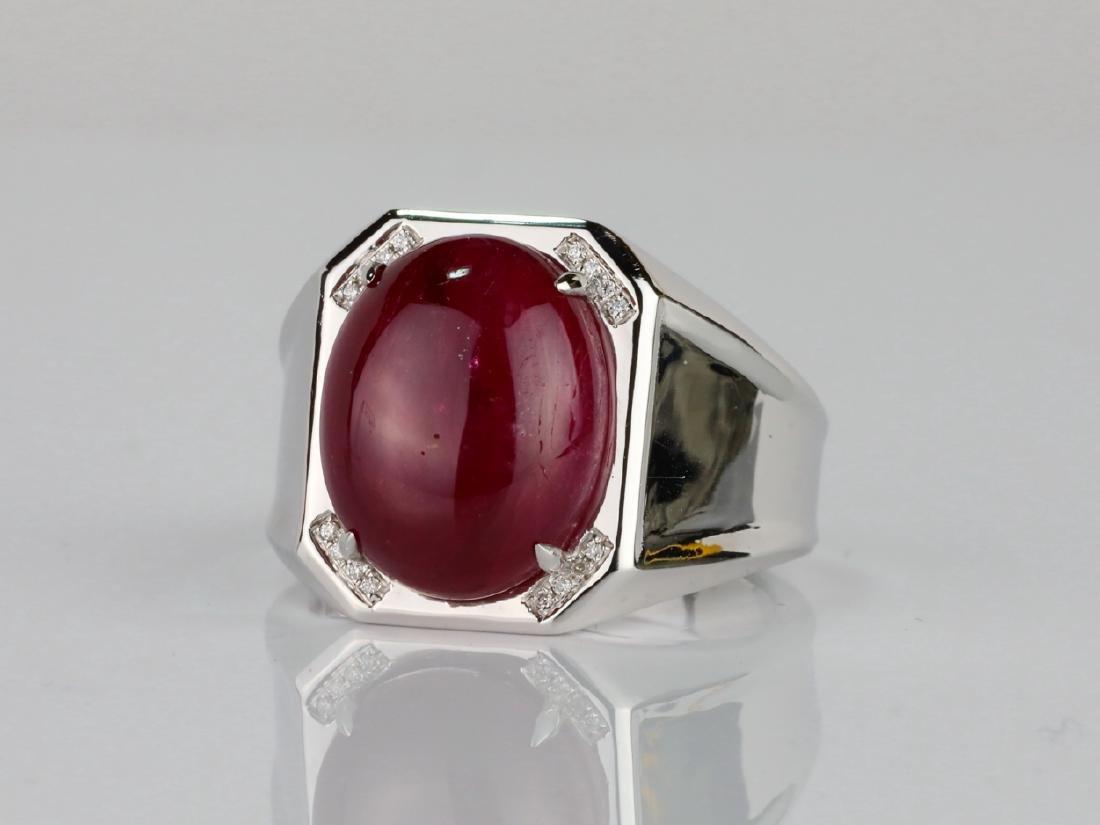 14.21ct Ruby Cabochon & 14K Ring W/Diamonds