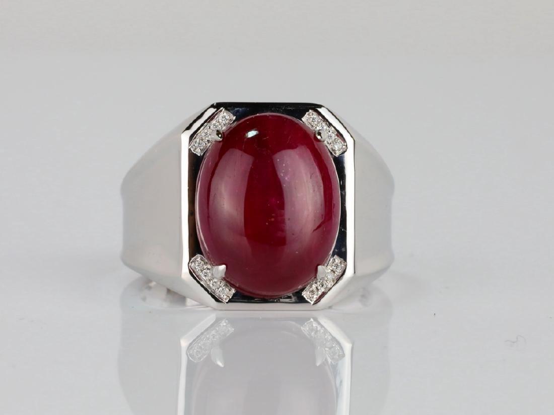 14.21ct Ruby Cabochon & 14K Ring W/Diamonds - 2