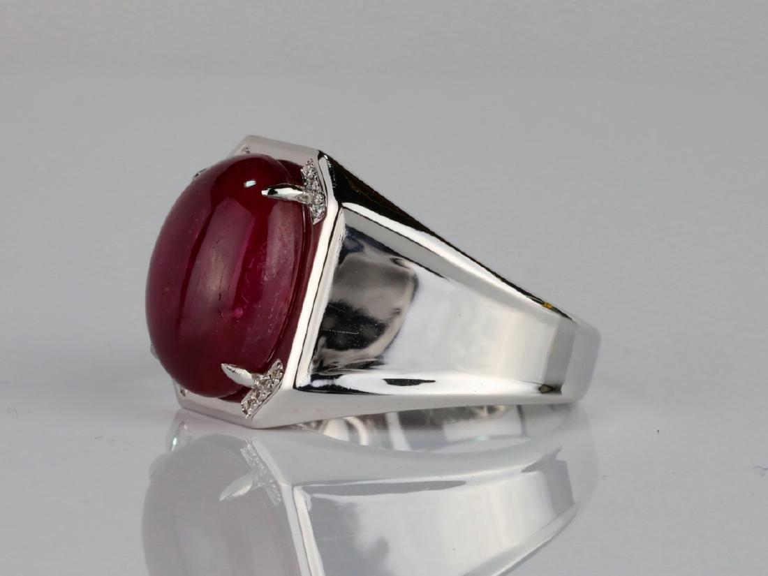 14.21ct Ruby Cabochon & 14K Ring W/Diamonds - 3