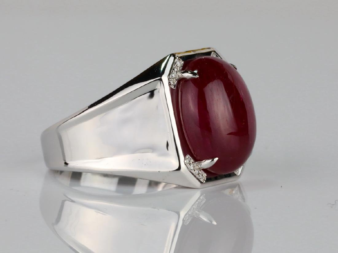 14.21ct Ruby Cabochon & 14K Ring W/Diamonds - 4