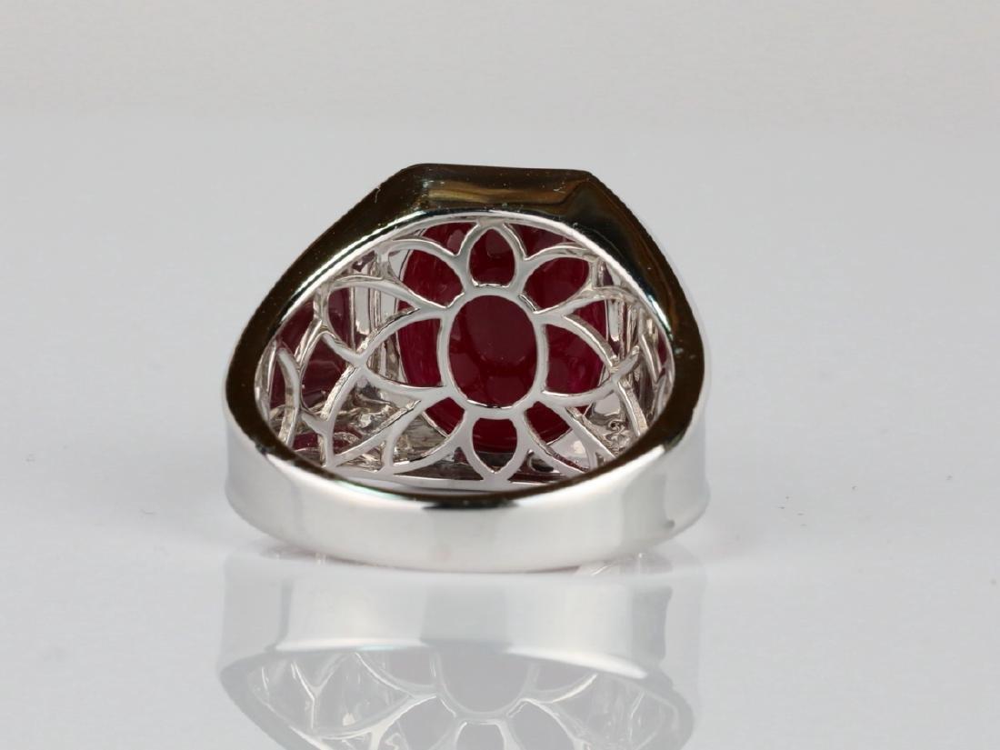 14.21ct Ruby Cabochon & 14K Ring W/Diamonds - 5