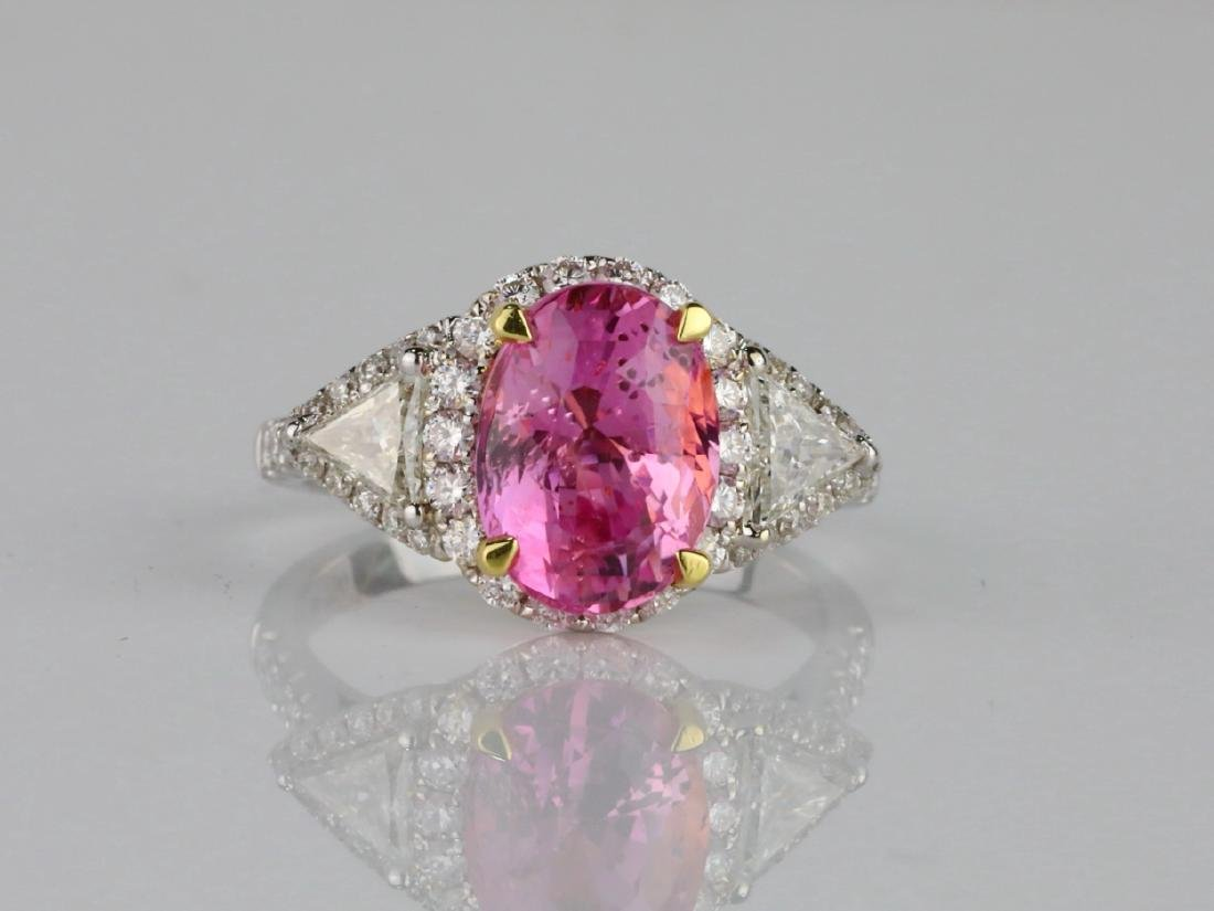 3.15ct GIA Pink Sapphire, 1ctw Diamond & 18K Ring