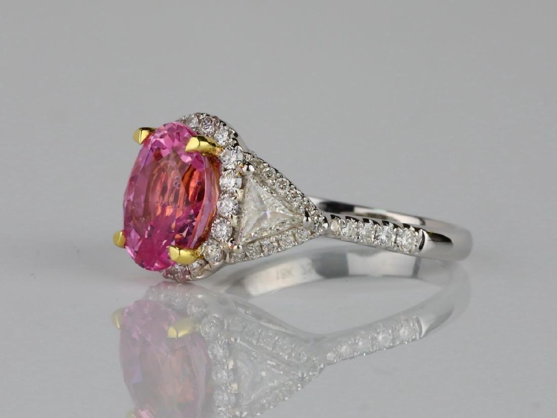 3.15ct GIA Pink Sapphire, 1ctw Diamond & 18K Ring - 2