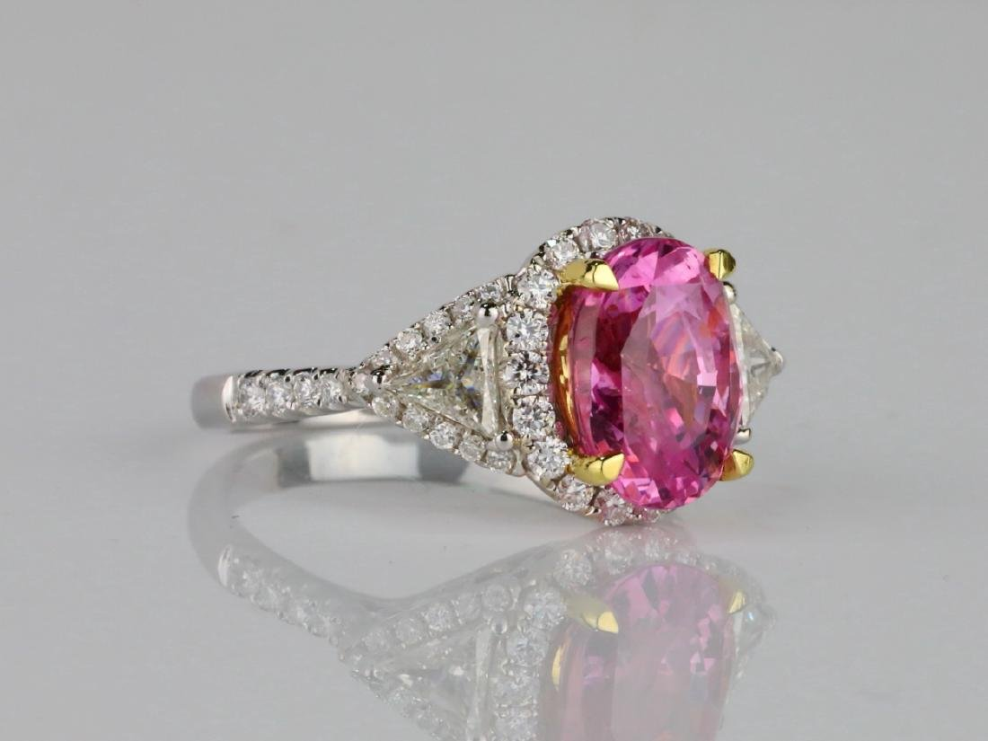 3.15ct GIA Pink Sapphire, 1ctw Diamond & 18K Ring - 3
