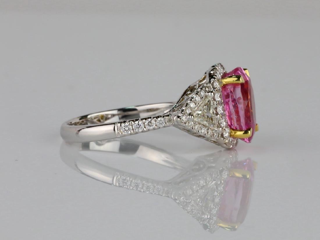 3.15ct GIA Pink Sapphire, 1ctw Diamond & 18K Ring - 5