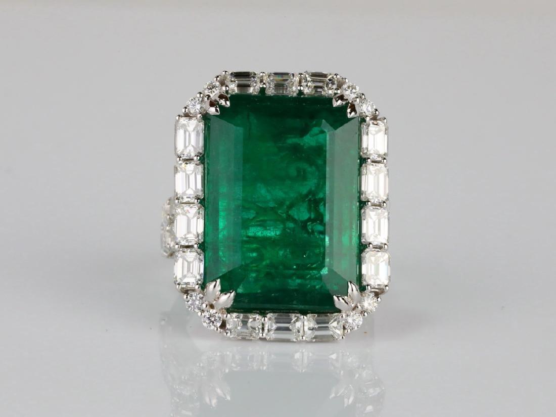 23.95ct Emerald, 5.5ctw VS1-VS2/G-H Diamond 18K Ring