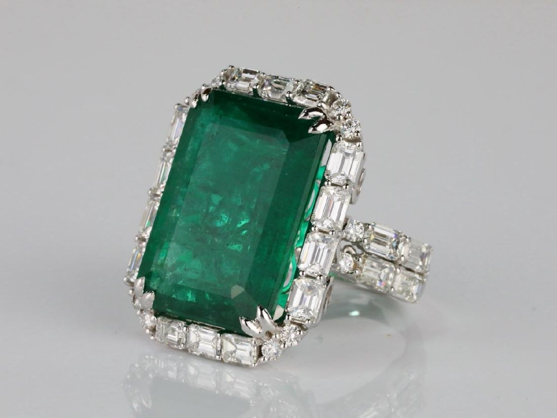 23.95ct Emerald, 5.5ctw VS1-VS2/G-H Diamond 18K Ring - 2