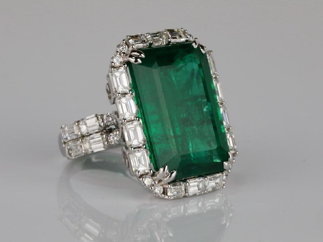 23.95ct Emerald, 5.5ctw VS1-VS2/G-H Diamond 18K Ring - 3