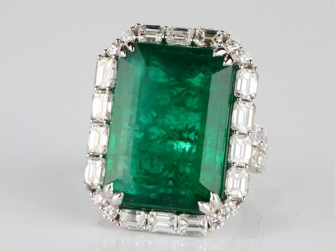 23.95ct Emerald, 5.5ctw VS1-VS2/G-H Diamond 18K Ring - 4