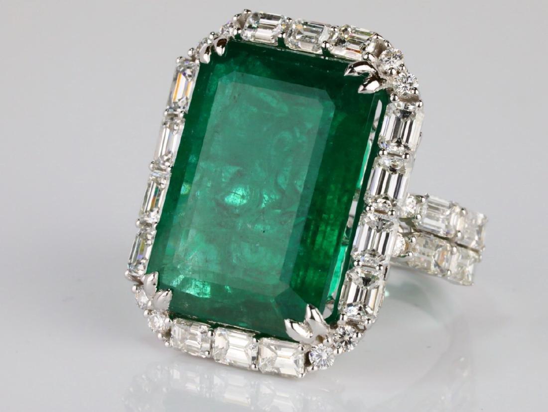 23.95ct Emerald, 5.5ctw VS1-VS2/G-H Diamond 18K Ring - 5