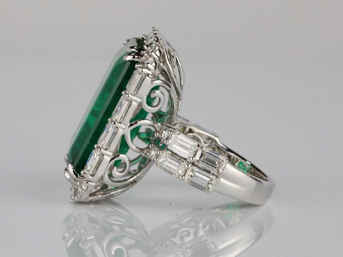 23.95ct Emerald, 5.5ctw VS1-VS2/G-H Diamond 18K Ring - 7