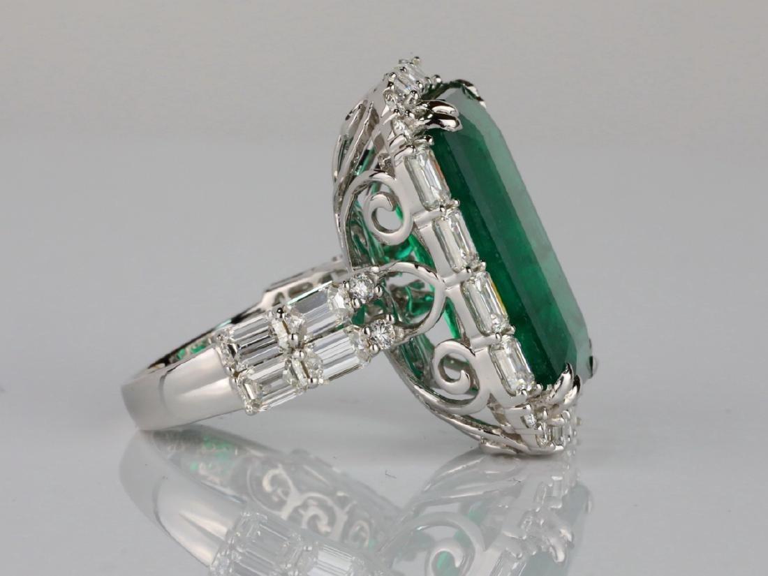 23.95ct Emerald, 5.5ctw VS1-VS2/G-H Diamond 18K Ring - 8