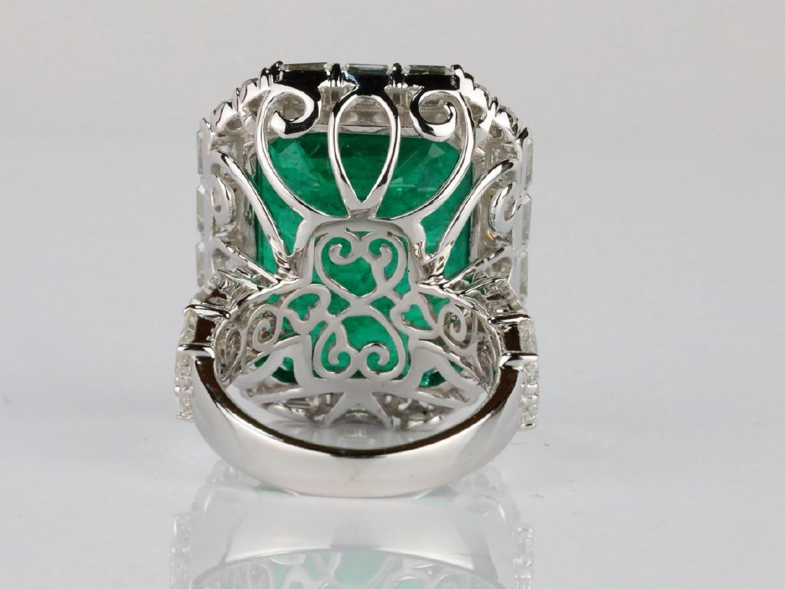 23.95ct Emerald, 5.5ctw VS1-VS2/G-H Diamond 18K Ring - 9