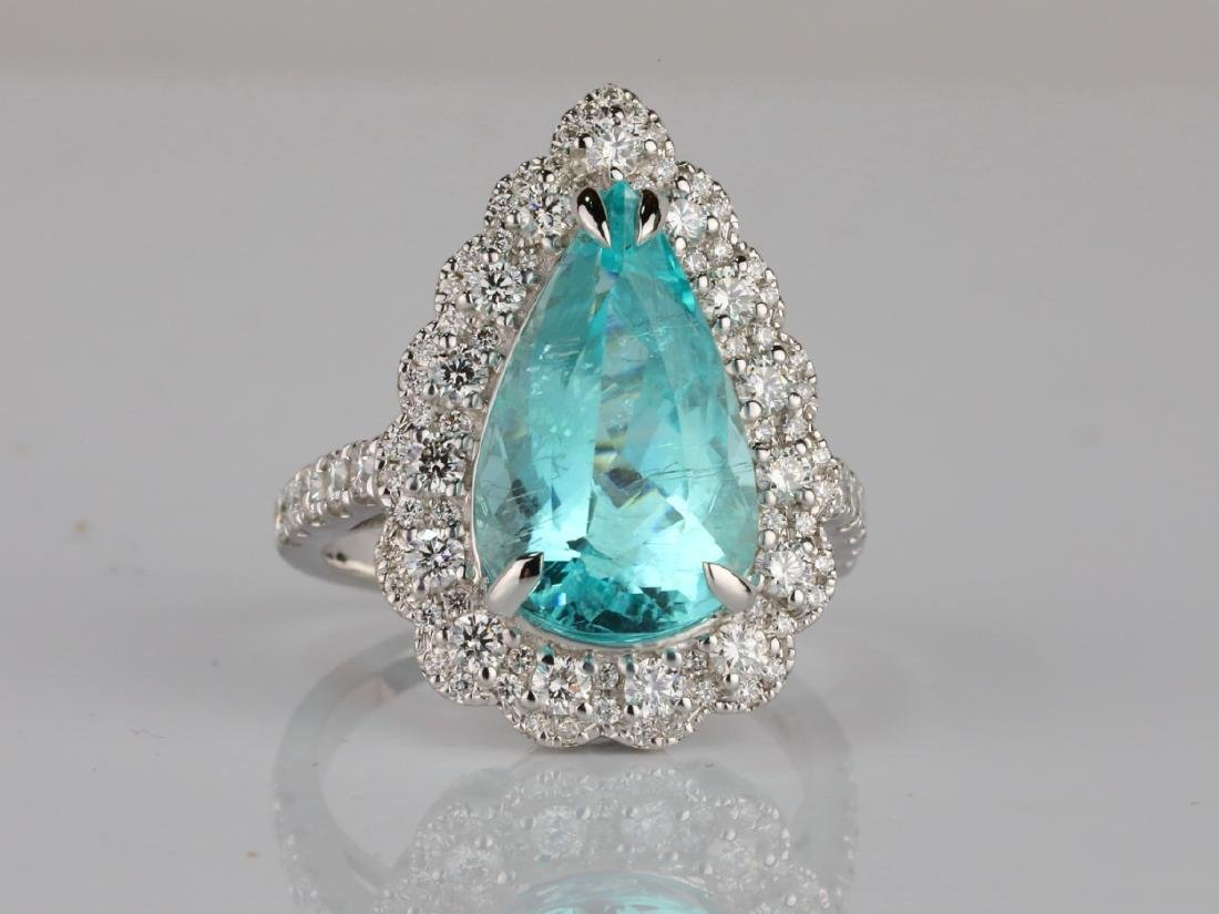 5.44ct GIA Paraiba Tourmaline & 1.1ctw Diamond Ring