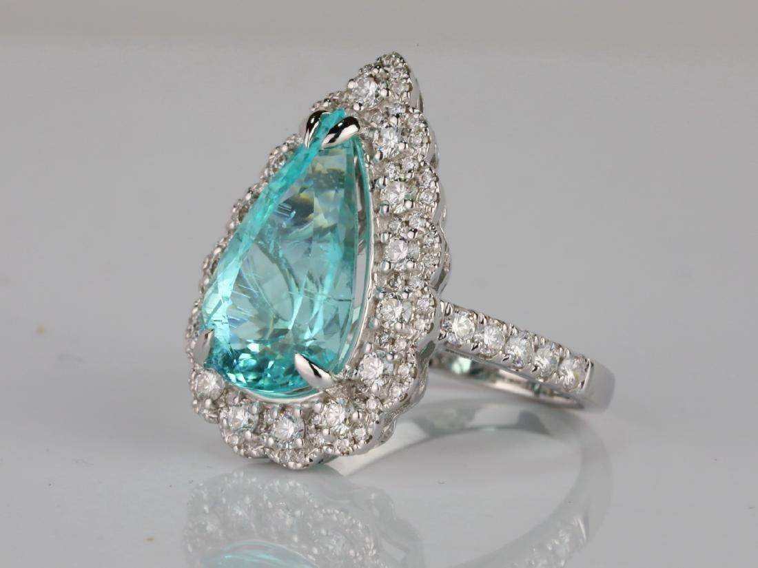 5.44ct GIA Paraiba Tourmaline & 1.1ctw Diamond Ring - 2