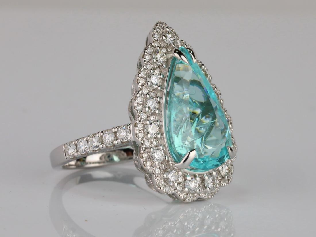 5.44ct GIA Paraiba Tourmaline & 1.1ctw Diamond Ring - 3