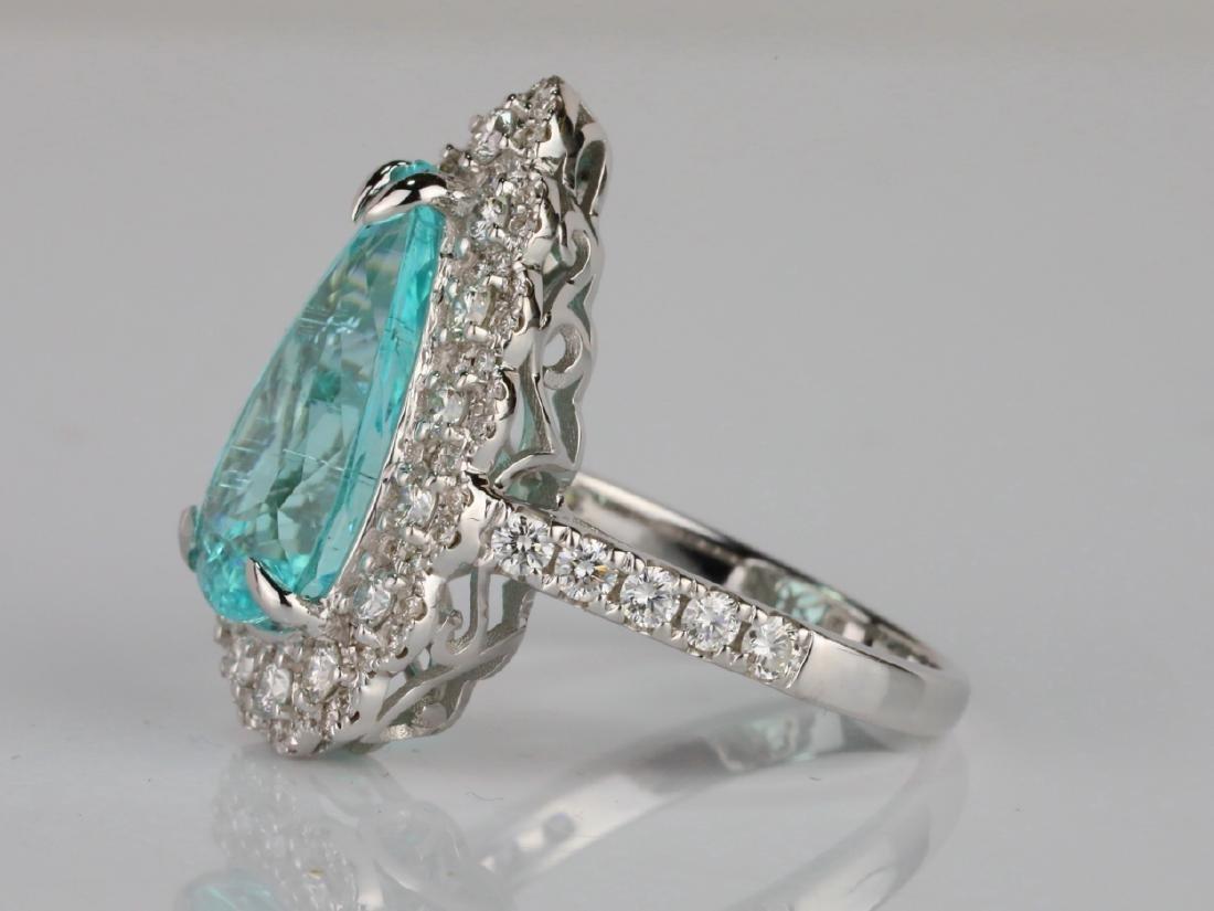 5.44ct GIA Paraiba Tourmaline & 1.1ctw Diamond Ring - 4