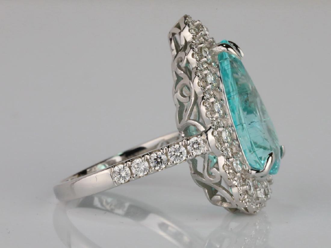 5.44ct GIA Paraiba Tourmaline & 1.1ctw Diamond Ring - 5