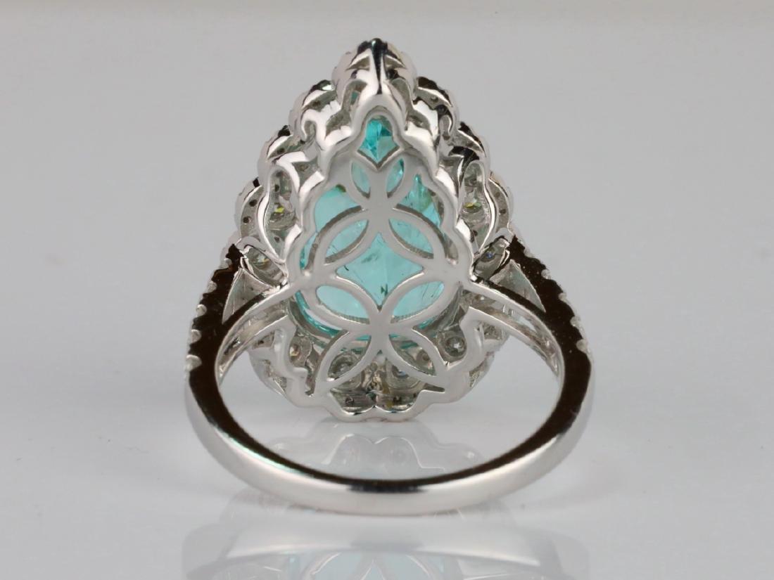 5.44ct GIA Paraiba Tourmaline & 1.1ctw Diamond Ring - 6