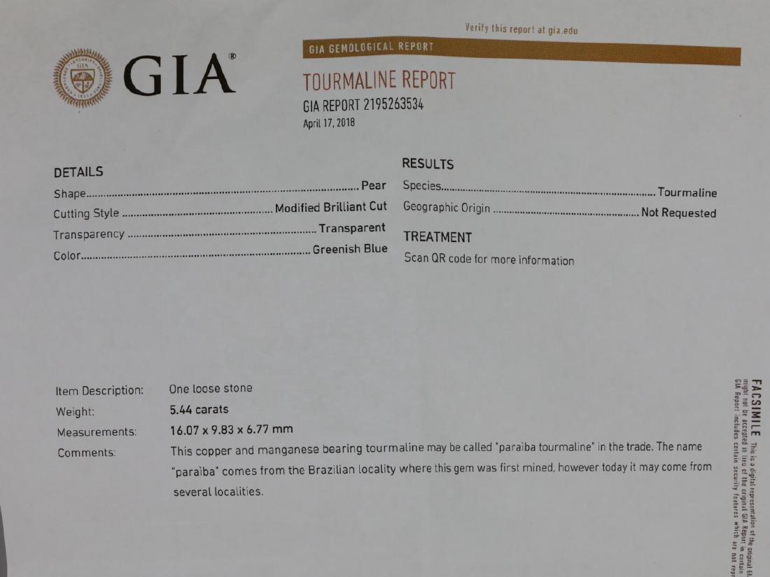 5.44ct GIA Paraiba Tourmaline & 1.1ctw Diamond Ring - 7