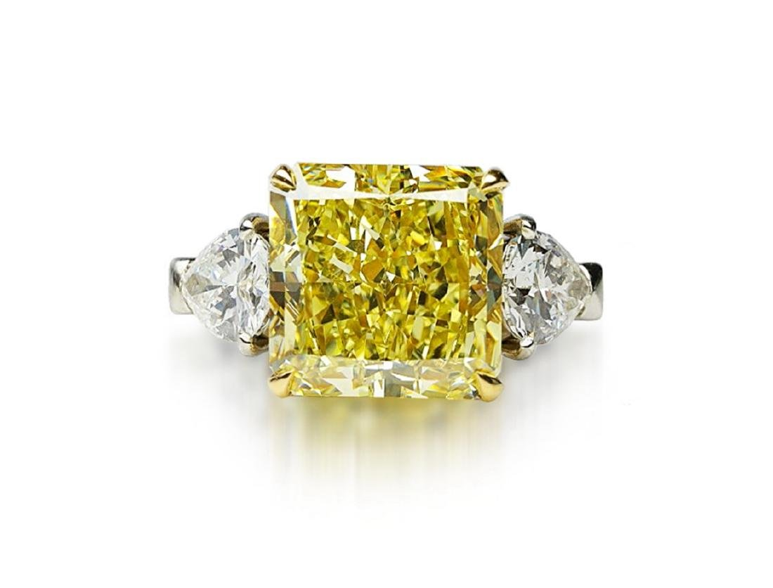 13.05ctw GIA VS1 Yellow/White Diamond Ring - 4