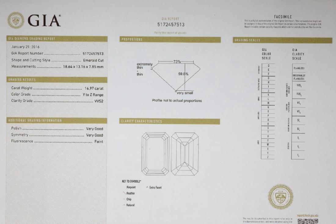 16.97ct GIA VVS2/Y-Z Diamond in Platinum Ring - 10