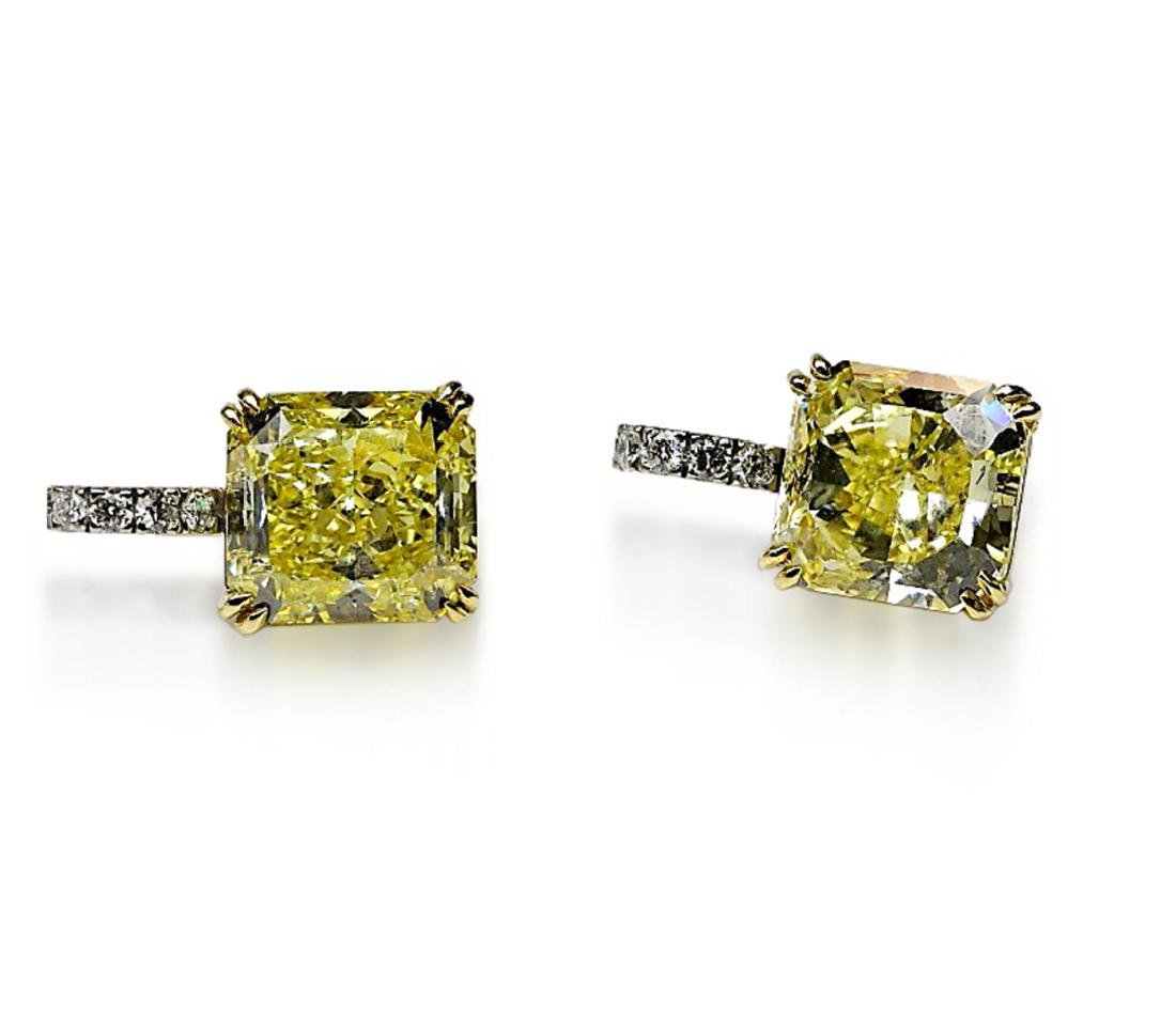 12.18ctw GIA VVS2/VS1 Yellow Diamond Earrings