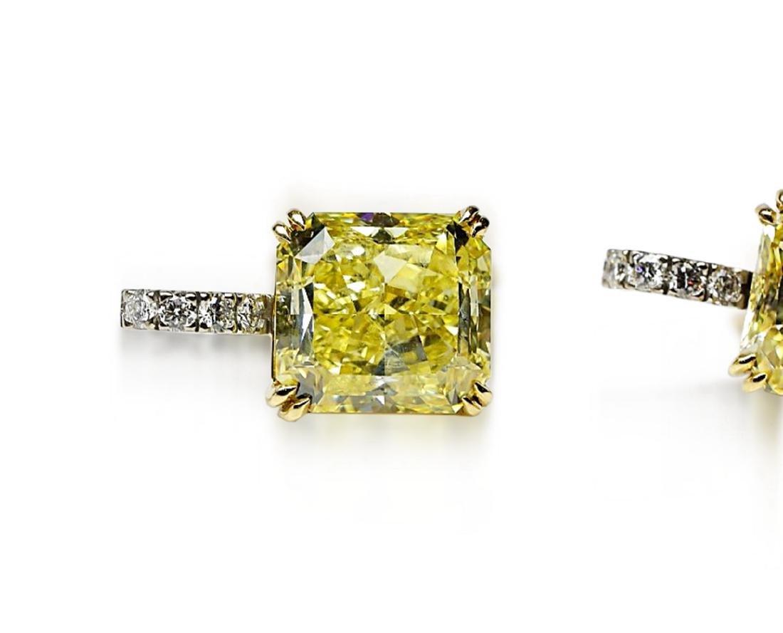 12.18ctw GIA VVS2/VS1 Yellow Diamond Earrings - 2