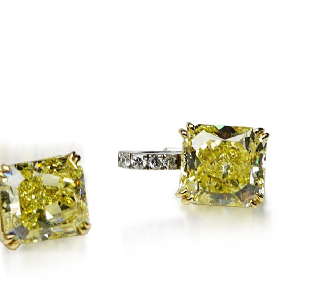 12.18ctw GIA VVS2/VS1 Yellow Diamond Earrings - 3