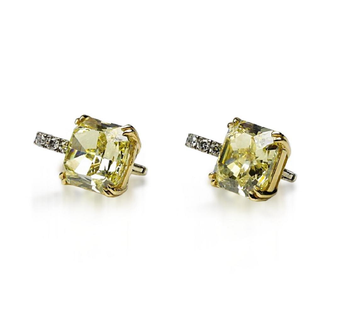 12.18ctw GIA VVS2/VS1 Yellow Diamond Earrings - 4