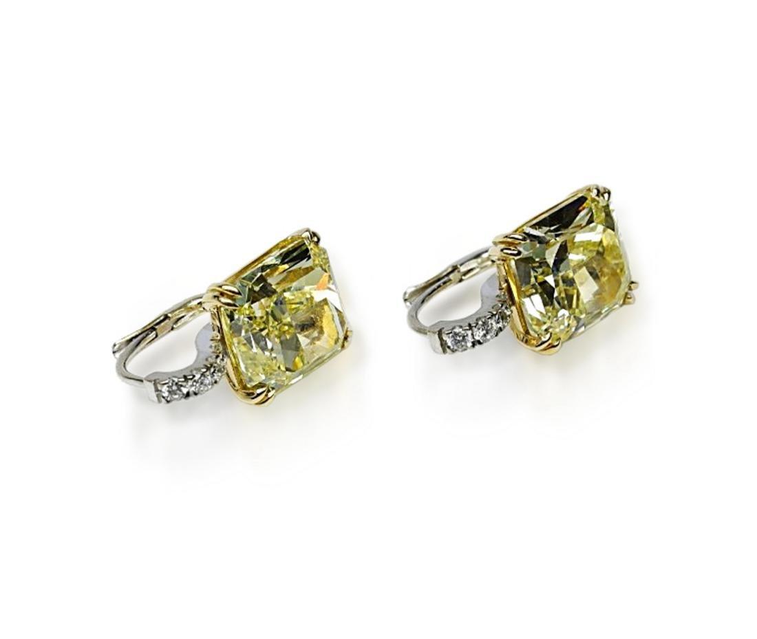 12.18ctw GIA VVS2/VS1 Yellow Diamond Earrings - 6