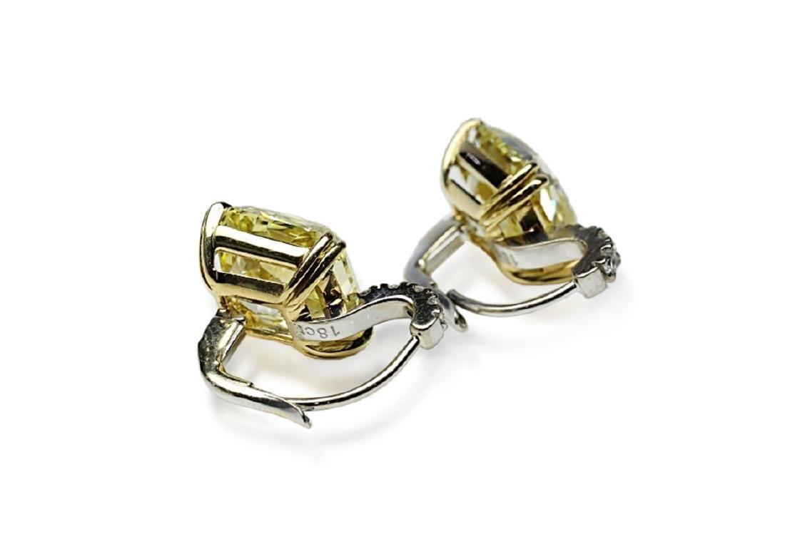 12.18ctw GIA VVS2/VS1 Yellow Diamond Earrings - 7