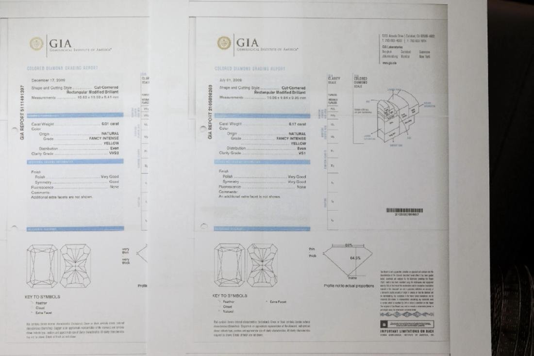 12.18ctw GIA VVS2/VS1 Yellow Diamond Earrings - 8
