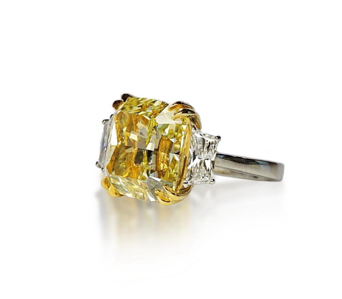 12.39ct GIA VVS2 Fancy Yellow Diamond Plat. Ring - 3