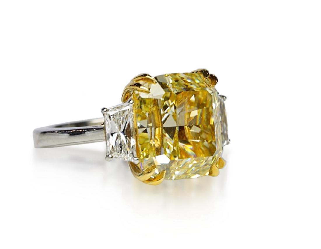 12.39ct GIA VVS2 Fancy Yellow Diamond Plat. Ring - 7
